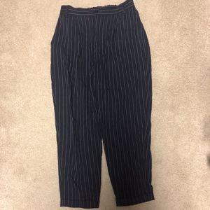 ZARA high rise pinstripe ankle trousers